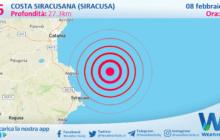 Sicilia: scossa di terremoto magnitudo 2.6 nei pressi di Costa Siracusana (Siracusa)