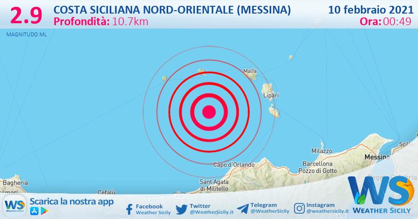 Sicilia: scossa di terremoto magnitudo 2.9 nei pressi di Costa Siciliana nord-orientale (Messina)