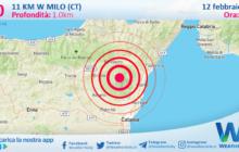 Sicilia: scossa di terremoto magnitudo 3.0 nei pressi di Milo (CT)