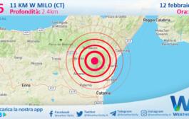 Sicilia: scossa di terremoto magnitudo 2.6 nei pressi di Milo (CT)