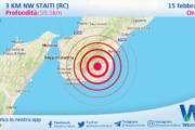 Sicilia: scossa di terremoto magnitudo 2.7 nei pressi di Staiti (RC)