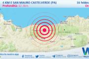 Sicilia: scossa di terremoto magnitudo 2.9 nei pressi di San Mauro Castelverde (PA)