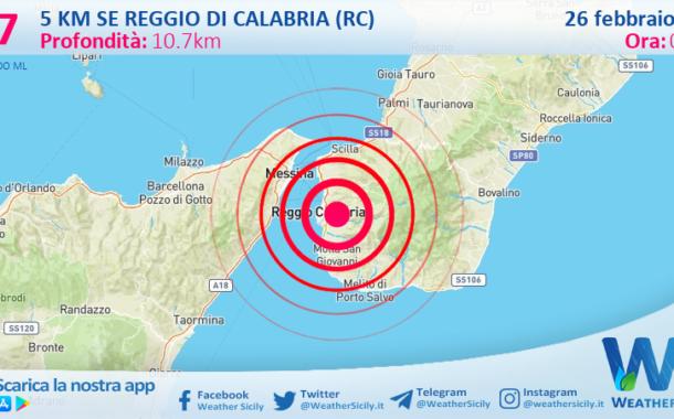 Sicilia: scossa di terremoto magnitudo 2.7 nei pressi di Reggio di Calabria (RC)