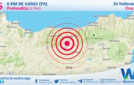 Sicilia: scossa di terremoto magnitudo 2.5 nei pressi di Gangi (PA)