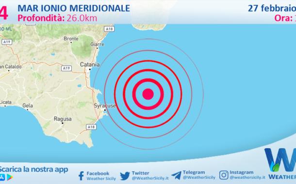 Sicilia: scossa di terremoto magnitudo 3.4 nel Mar Ionio Meridionale (MARE)
