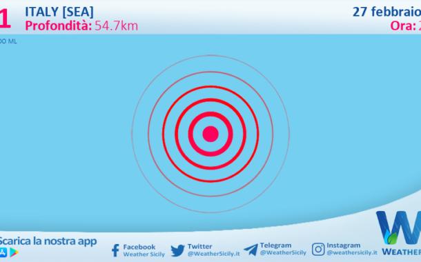 Sicilia: scossa di terremoto magnitudo 3.1 nei pressi di Italy [Sea]