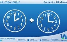 Domenica 28 marzo torna l'ora legale: lancette avanti di un'ora.