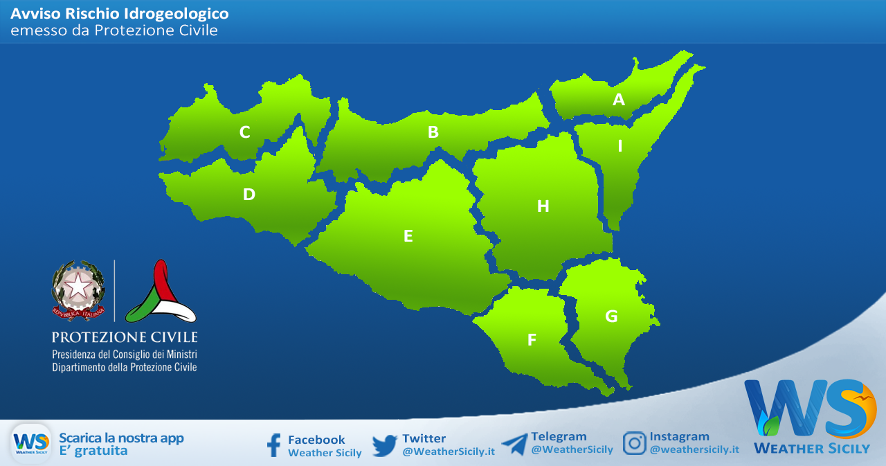 Sicilia: avviso rischio idrogeologico per giovedì 18 marzo 2021