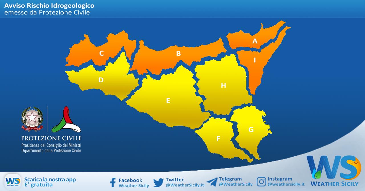 Emessa allerta arancio sul nord Sicilia, gialla altrove per sabato 20 marzo 2021.