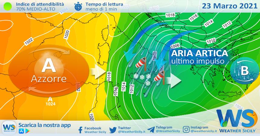 Sicilia, ultimo impulso artico martedì: atteso più freddo e neve a bassa quota.