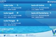 Sicilia, isole minori: condizioni meteo-marine previste per sabato 06 marzo 2021