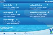 Sicilia, isole minori: condizioni meteo-marine previste per martedì 30 marzo 2021
