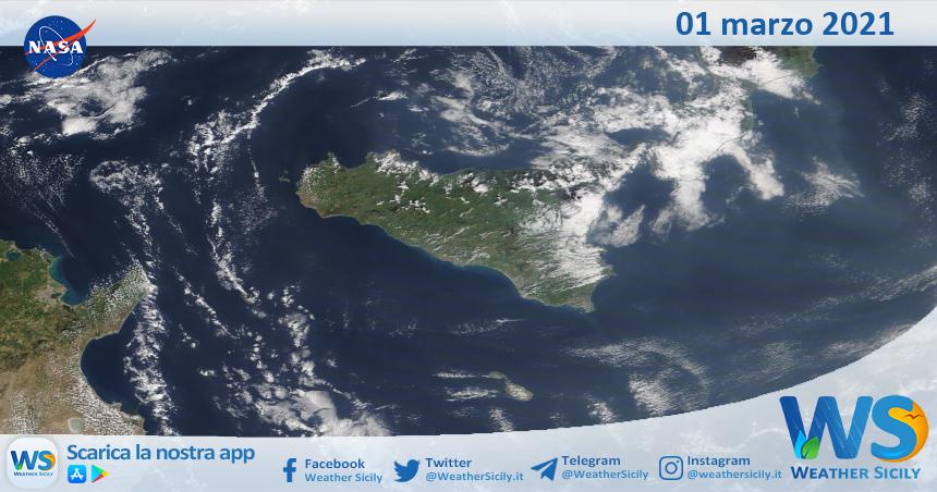 Sicilia: immagine satellitare Nasa di lunedì 01 marzo 2021