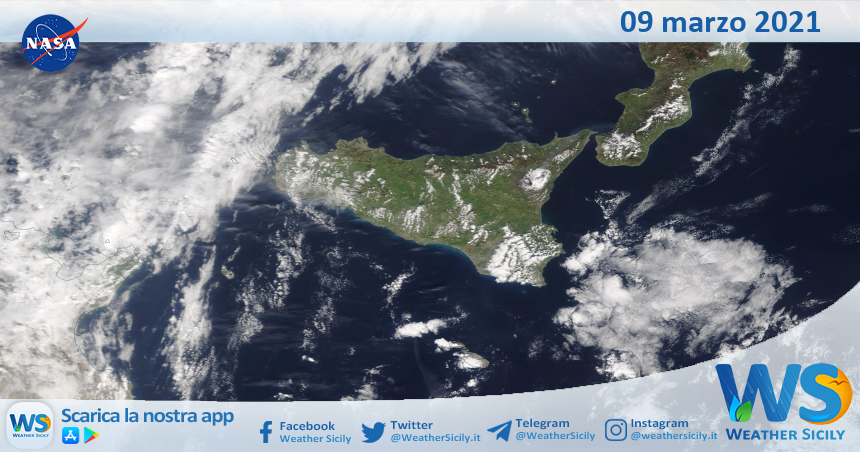 Sicilia: immagine satellitare Nasa di martedì 09 marzo 2021