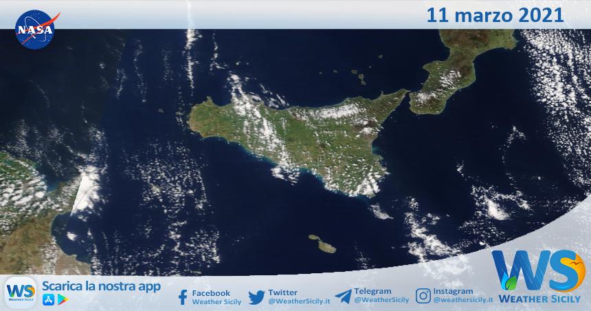 Sicilia: immagine satellitare Nasa di giovedì 11 marzo 2021