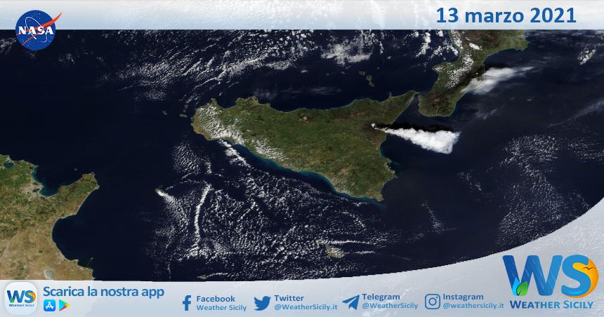Sicilia: immagine satellitare Nasa di sabato 13 marzo 2021