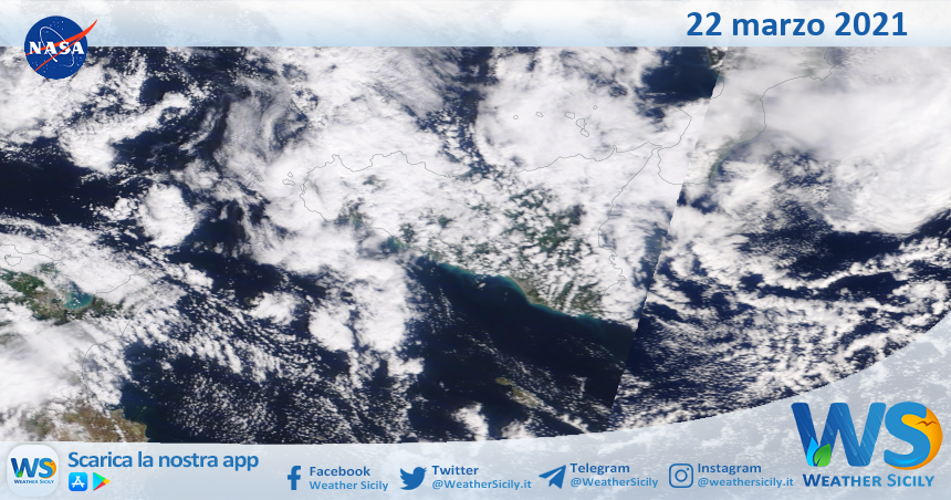 Sicilia: immagine satellitare Nasa di lunedì 22 marzo 2021