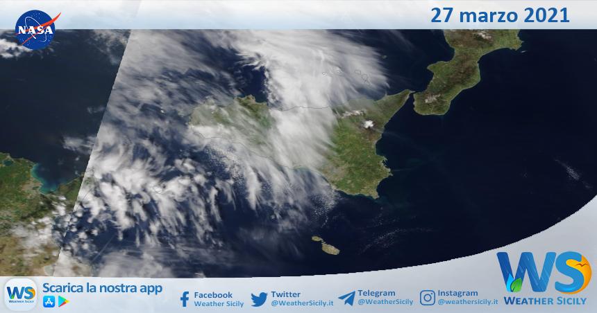Sicilia: immagine satellitare Nasa di sabato 27 marzo 2021