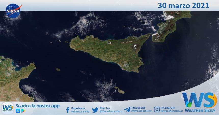Sicilia: immagine satellitare Nasa di martedì 30 marzo 2021
