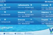 Sicilia: condizioni meteo-marine previste per sabato 06 marzo 2021