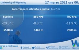 Sicilia: Radiosondaggio Trapani Birgi di mercoledì 17 marzo 2021 ore 00:00