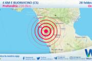 Sicilia: scossa di terremoto magnitudo 3.0 nei pressi di Buonvicino (CS)