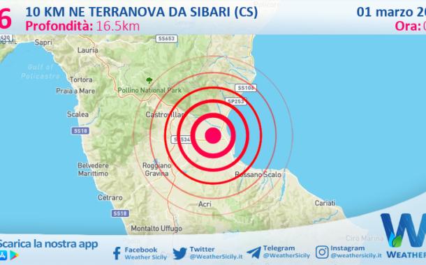 Sicilia: scossa di terremoto magnitudo 2.6 nei pressi di Terranova da Sibari (CS)