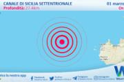 Sicilia: scossa di terremoto magnitudo 3.3 nel Canale di Sicilia settentrionale (MARE)