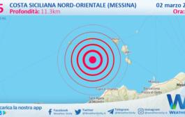 Sicilia: scossa di terremoto magnitudo 2.5 nei pressi di Costa Siciliana nord-orientale (Messina)