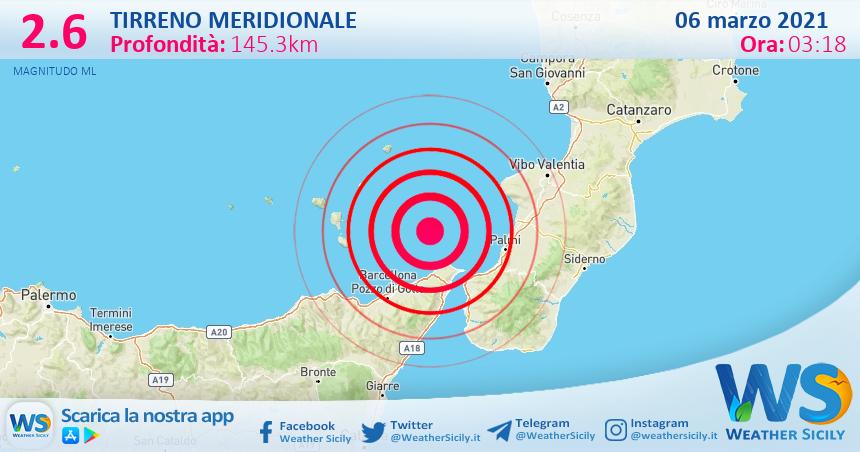 Sicilia: scossa di terremoto magnitudo 2.6 nel Tirreno Meridionale (MARE)