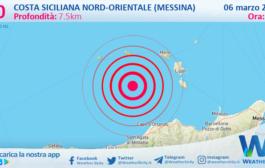 Sicilia: scossa di terremoto magnitudo 3.0 nei pressi di Costa Siciliana nord-orientale (Messina)