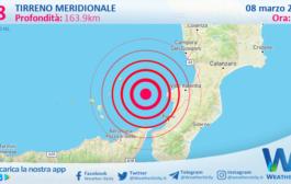 Sicilia: scossa di terremoto magnitudo 2.8 nel Tirreno Meridionale (MARE)