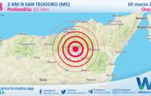 Sicilia: scossa di terremoto magnitudo 2.8 nei pressi di San Teodoro (ME)