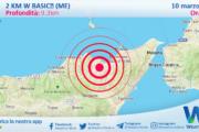 Sicilia: scossa di terremoto magnitudo 2.6 nei pressi di Basicò (ME)