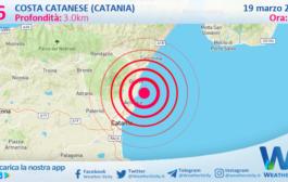 Sicilia: scossa di terremoto magnitudo 2.6 nei pressi di Costa Catanese (Catania)