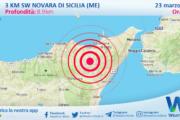 Sicilia: scossa di terremoto magnitudo 2.5 nei pressi di Novara di Sicilia (ME)