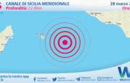 Sicilia: scossa di terremoto magnitudo 2.5 nel Canale di Sicilia meridionale (MARE)
