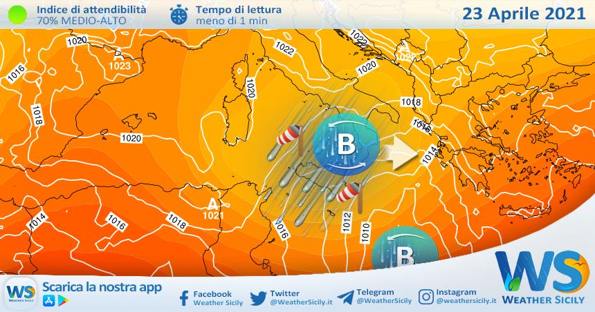Sicilia: maltempo diffuso venerdì. Accumuli localmente moderati.