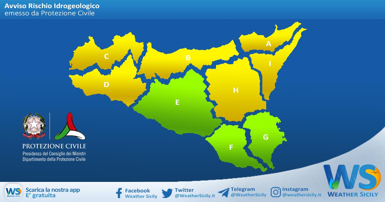 Sicilia: avviso rischio idrogeologico per lunedì 19 aprile 2021