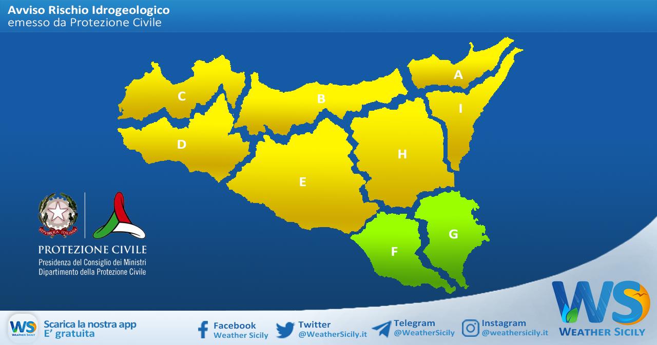 Sicilia: avviso rischio idrogeologico per venerdì 23 aprile 2021