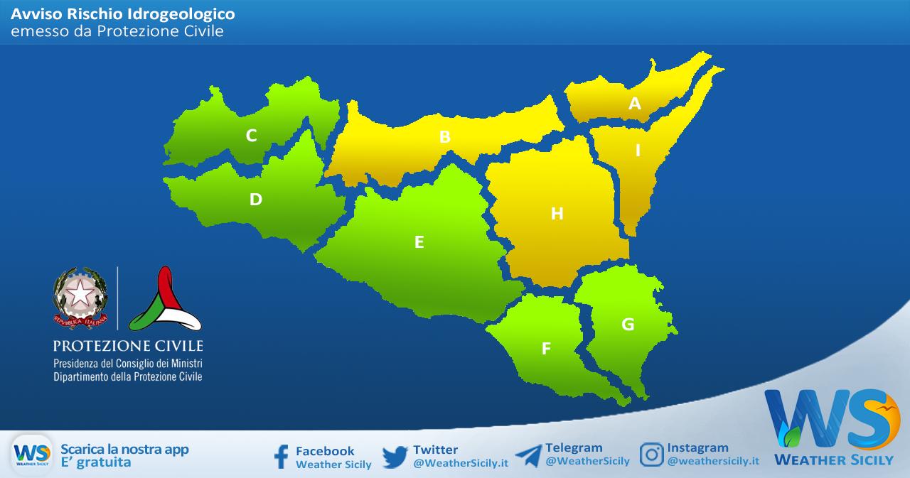 Sicilia: avviso rischio idrogeologico per sabato 24 aprile 2021