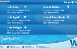 Sicilia, isole minori: condizioni meteo-marine previste per sabato 24 aprile 2021