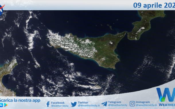 Sicilia: immagine satellitare Nasa di venerdì 09 aprile 2021