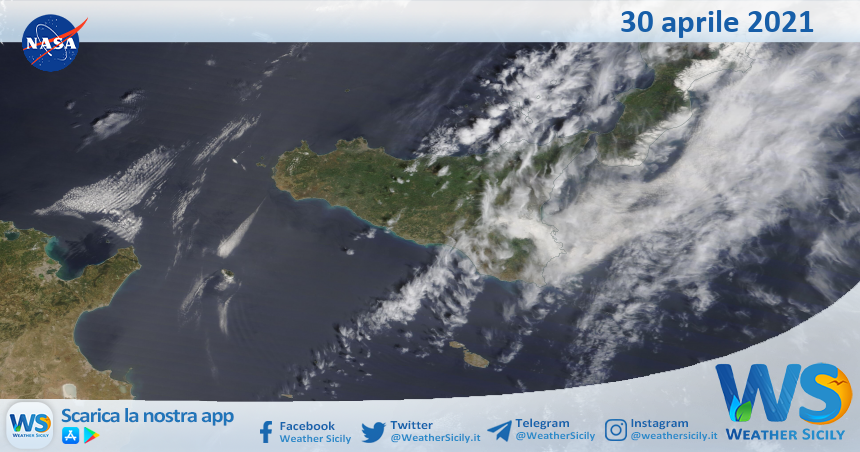 Sicilia: immagine satellitare Nasa di venerdì 30 aprile 2021