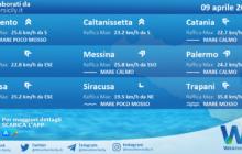 Sicilia: condizioni meteo-marine previste per venerdì 09 aprile 2021