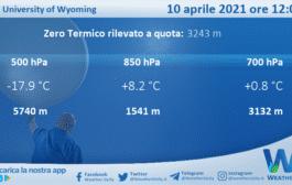 Sicilia: Radiosondaggio Trapani Birgi di sabato 10 aprile 2021 ore 12:00