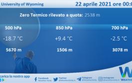 Sicilia: Radiosondaggio Trapani Birgi di giovedì 22 aprile 2021 ore 00:00
