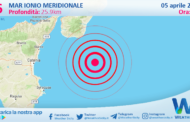 Sicilia: scossa di terremoto magnitudo 2.6 nel Mar Ionio Meridionale (MARE)
