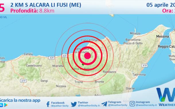 Sicilia: scossa di terremoto magnitudo 2.5 nei pressi di Alcara li Fusi (ME)