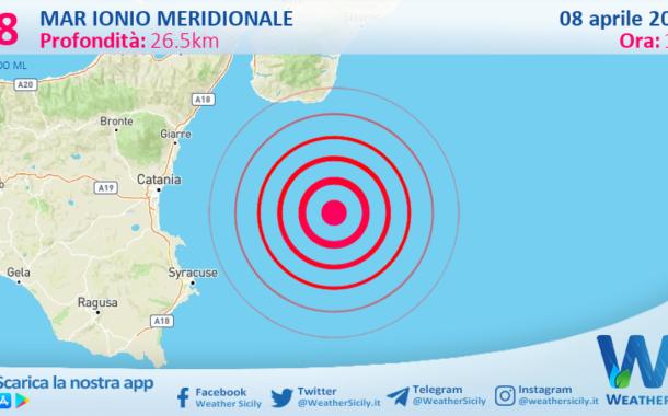 Sicilia: scossa di terremoto magnitudo 2.8 nel Mar Ionio Meridionale (MARE)